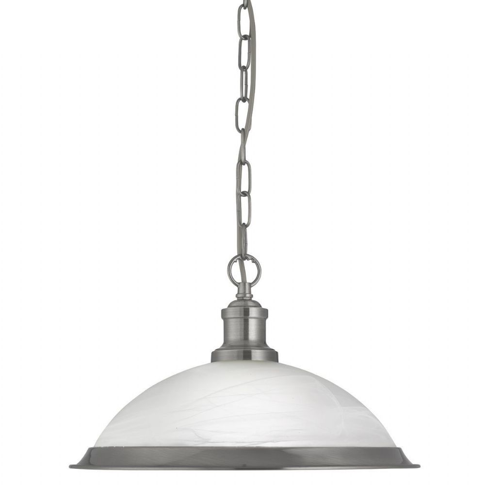 Bistro 1 Light Industrial Pendant Satin Silver, Marble Glass Shade, Satin Silver Trim 1591Ss